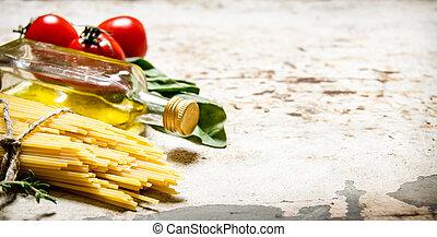 seco, aceite, hierbas, aceituna, Espaguetis, tomates