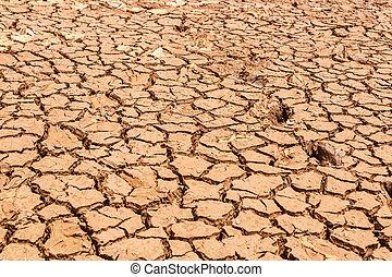 seco, agua, agrietado, tierra, sin