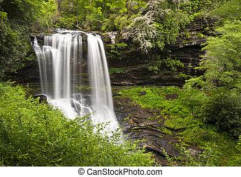 seco, bajas, tierras altas, nc, cascadas, paisaje de la...