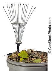 seco, cajón, hojas, rastrillo, basura