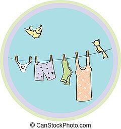 seco, cuerda, ropa