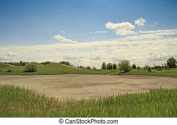 seco, lago, paisaje