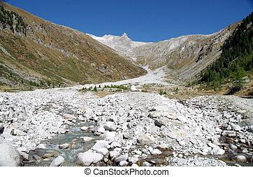 seco, montaña, río, sin, agua
