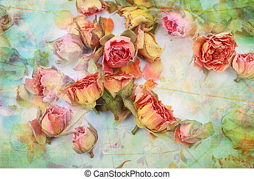 seco, rosas, hermoso, vendimia, plano de fondo