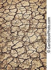 seco, suelo agrietado, durante, sequía