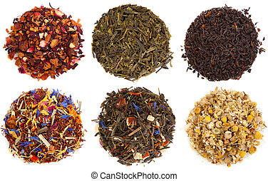 seco, surtido, blanco, aislado, té