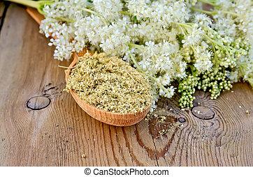 seco, té, cuchara, herbario, meadowsweet