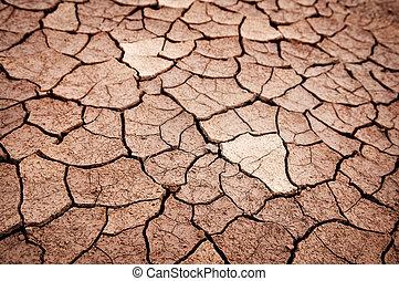 seco, tierra, agrietado
