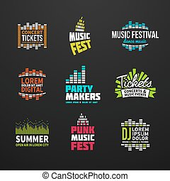 Second big set music equalizer logotype vector elements -...