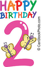 cartoon illustration design for second birthday anniversary