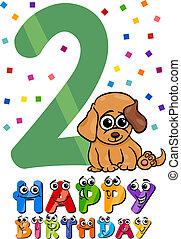 second birthday cartoon design