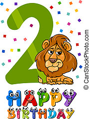 second birthday cartoon design - Cartoon Illustration of the...
