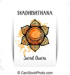 Second chakra illustration vector of Svadhishthana. The ...