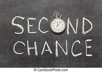 second chance phrase with vintage precise stopwatch used ...