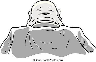 Second face of a bureaucrat - Vector illustration of a fat ...