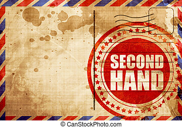 second hand, red grunge stamp on an airmail background