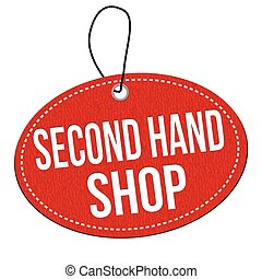 Second hand shop label or price tag - Second hand shop red...