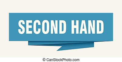 second hand sign. second hand paper origami speech bubble....