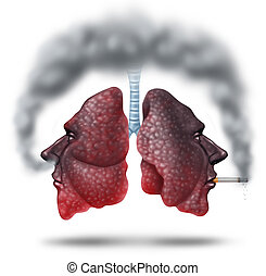 Second hand smoke health care concept for cigarette smoking risks with human lungs in the shape of a head with one smoker and another innocent victim lung breathing the toxic fumes turning the organ black.