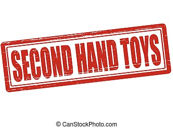 Second hand toys - Stamp with text second hand toys inside,...