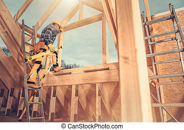 Wooden Skeleton Frame of House Construction