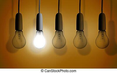 Second light bulb lighting against orange background