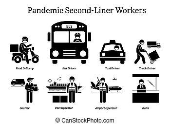 second-liner, vírus, cliparts., trabalhadores, pandemic