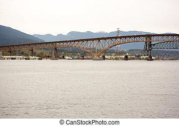 second narrows bridge viewd from brighton beach