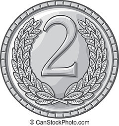 second place medal (medal with laurel wreath, second place award, silver medal)