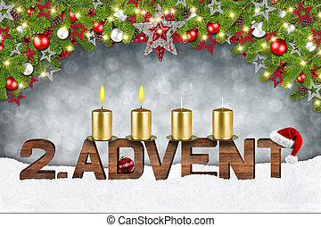 second sunday of advent concept xmas background with candles...