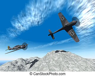 second world war planes attack - a 3d rendering of a german...