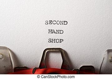 seconda mano, testo, negozio
