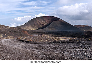 Secondary craters on volcanic Mount Etna, Sicily
