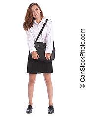 Secondary education pretty girl in school uniform - Happy...