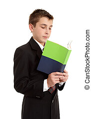 Secondary school student reading
