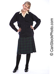 Secondary school uniform on happy teenage girl - Happy smile...