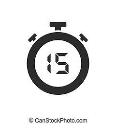 secondes, chronomètre, quinze, isolé, icône