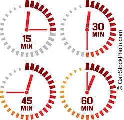 secondes, -, horloge, quinze, icônes