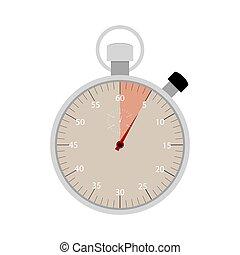 secondes, mis valeur, cinq, chronomètre