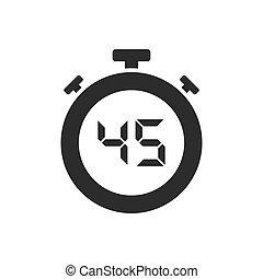 secondes, quarante, isolé, cinq, chronomètre, icône