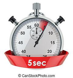 secondes, timer., rendre, 5, chronomètre, 3d