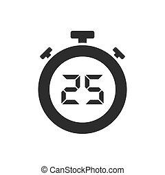 secondes, vingt, isolé, cinq, chronomètre, icône