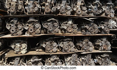 Secondhand Automobile Engines Stacked for Sale