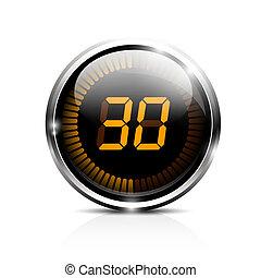 secondi, trenta, elettronico, timer
