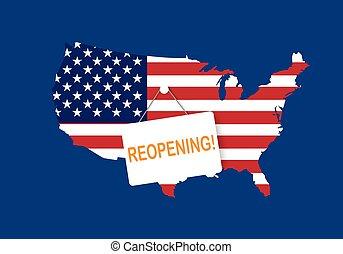 secondo, quarantena, concetti, paese, america, reopening