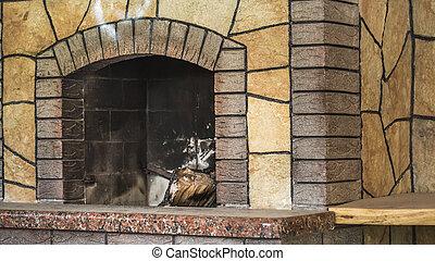 secondo, resti, bruciato, legna ardere, concreto, sporco, legno, cenere, caminetto