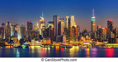 secondo, tramonto,  Manhattan