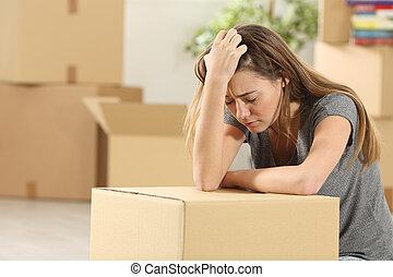 secondo, triste, sfratto, casa trasloco, proprietario