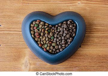 secos, alimento, gato