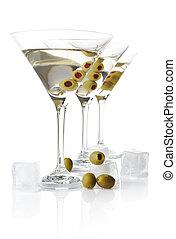 secos, azeitonas, cubos, &, clássicas, gelo, martini, gelado, linha, branca